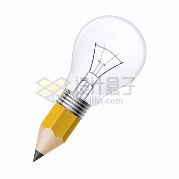 创意黄色铅笔和电灯泡的组合png图片素材