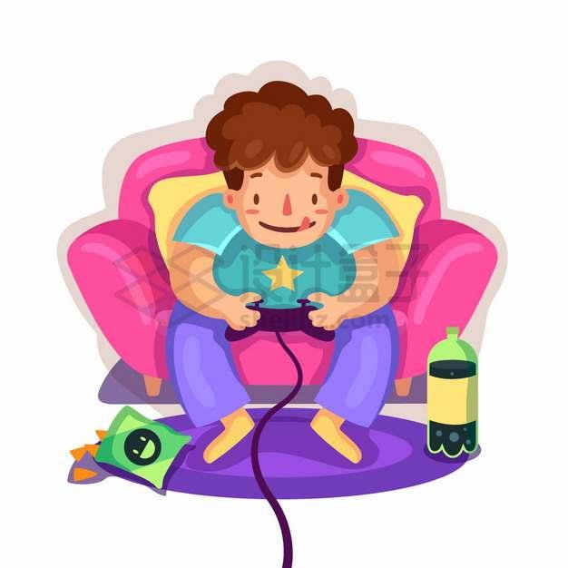 坐在沙发上玩游戏的卡通宅男png图片素材