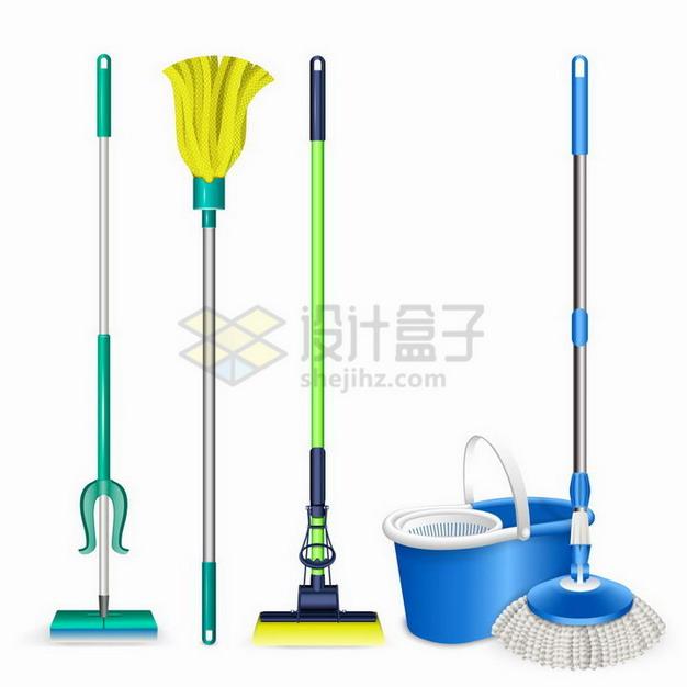 各种各样的拖把清洁卫生工具png图片免抠矢量素材 生活素材-第1张