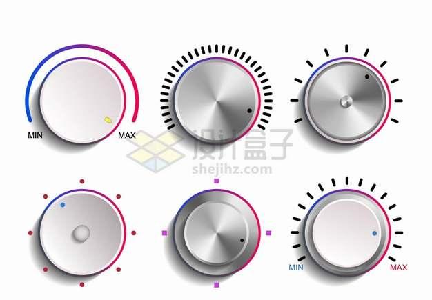 6款不锈钢金属光泽的音乐播放器音量调节旋钮png图片素材