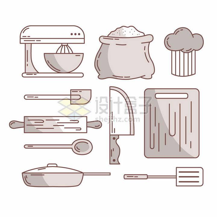 MBE风格搅拌机面粉擀面杖菜刀砧板等厨房用品png图片素材