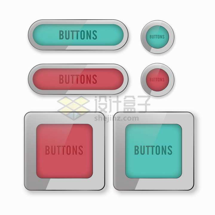 灰色半透明边框圆角方形圆形玻璃按钮png图片素材
