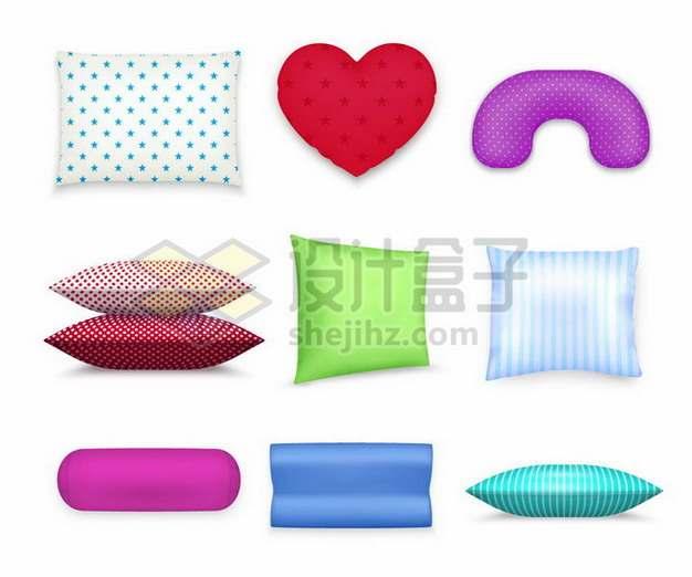 9款各种形状的彩色枕头抱枕靠枕U形枕png图片素材
