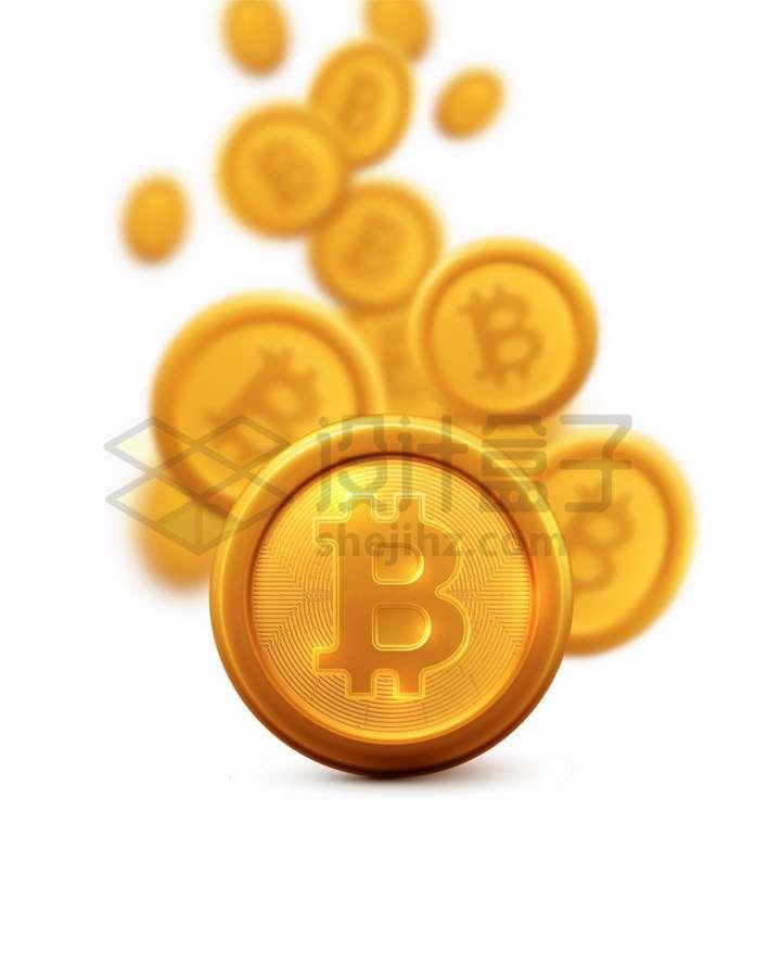 掉落的高清比特币虚拟货币png图片免抠矢量素材
