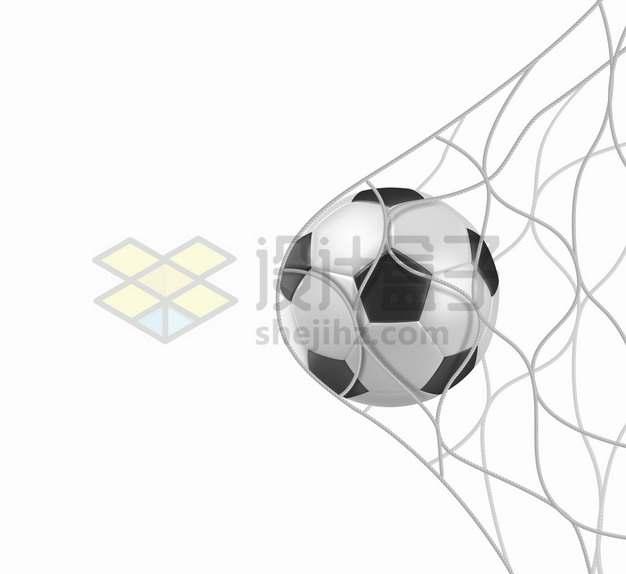 冲进球网的足球体育运动png图片素材
