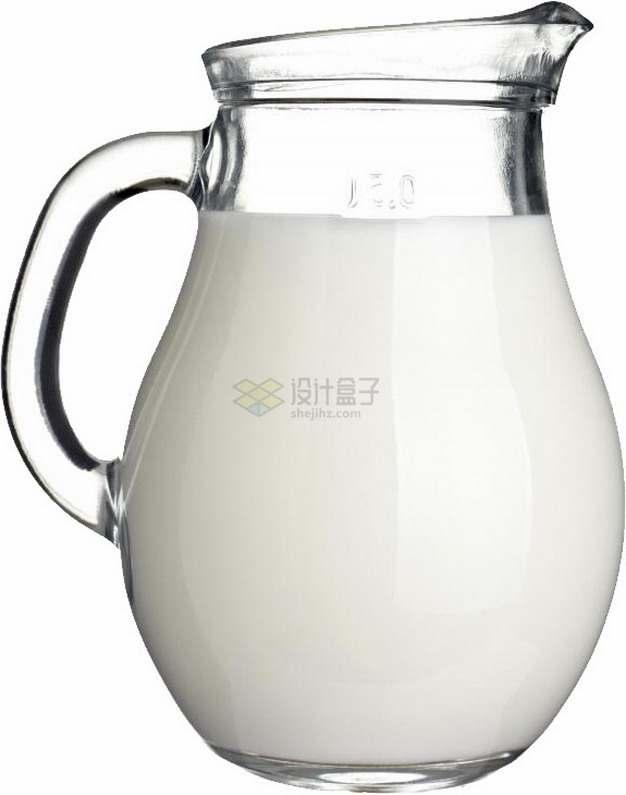 带把手的玻璃瓶中的牛奶png图片素材