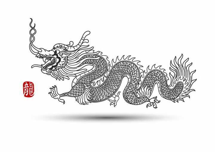 黑色线条手绘风格五爪龙中国龙图案png图片免抠矢量素材