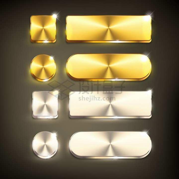 金色金属光泽圆角方形圆形圆角3D立体按钮png图片素材