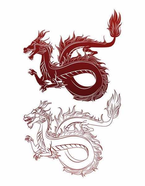 手绘风格红色线条和上色中国龙png图片免抠矢量素材