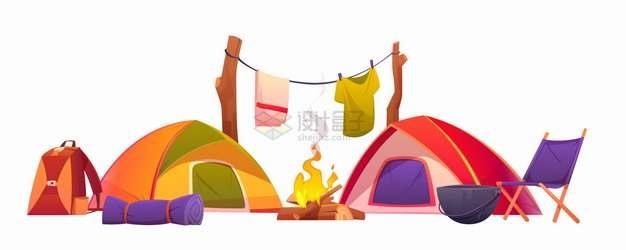 卡通帐篷篝火正在烘烤湿透的衣服野营露营插画png图片素材