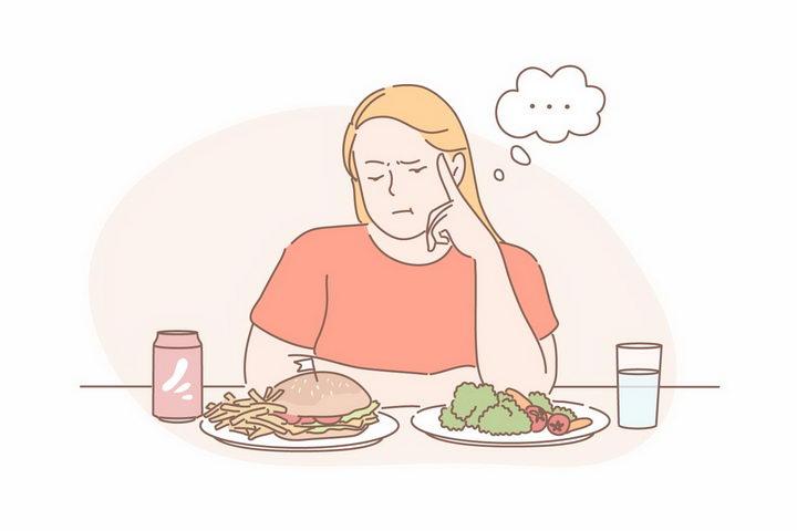 手绘线条女孩减肥餐要吃汉堡还是蔬菜png图片免抠矢量素材 人物素材-第1张