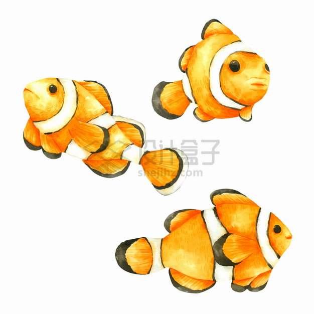 3条黄色的小丑鱼水彩插画png图片素材