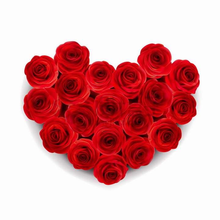 19朵红色玫瑰花组成的心形图案情人节鲜花png图片免抠矢量素材