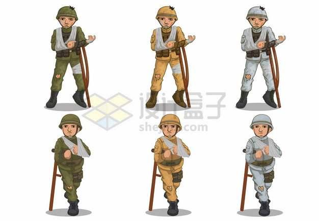 6款打仗受伤的残疾士兵png图片素材34357234
