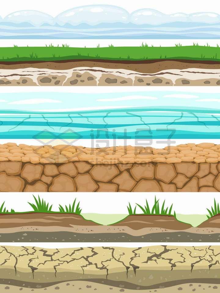 雪地青草地海水干旱土地池塘干裂的土地等土壤分层解剖图png图片免抠矢量素材