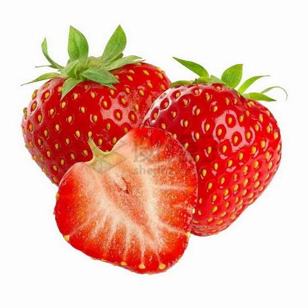 切开的春旭草莓png图片素材