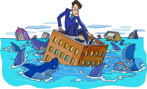 卡通商务人士洪水中躲避鲨鱼象征了金融危机png图片素材 商务职场-第1张
