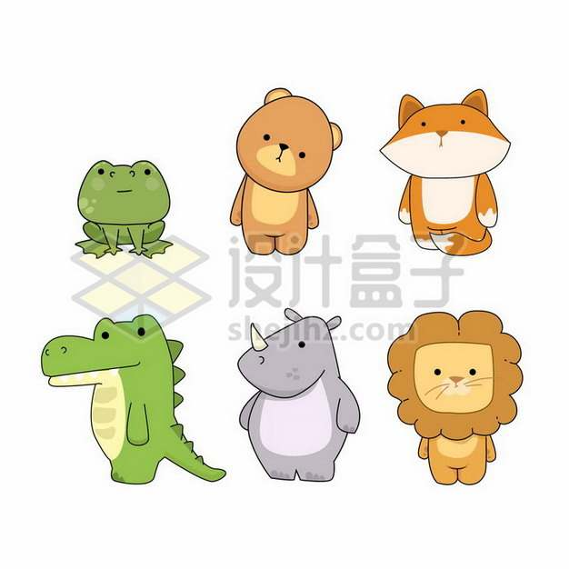 6款可爱青蛙小熊狐狸鳄鱼犀牛狮子等卡通动物儿童插画png图片素材