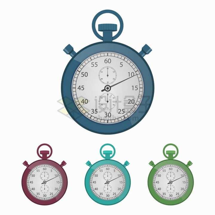 4种颜色的秒表计时工具png图片素材