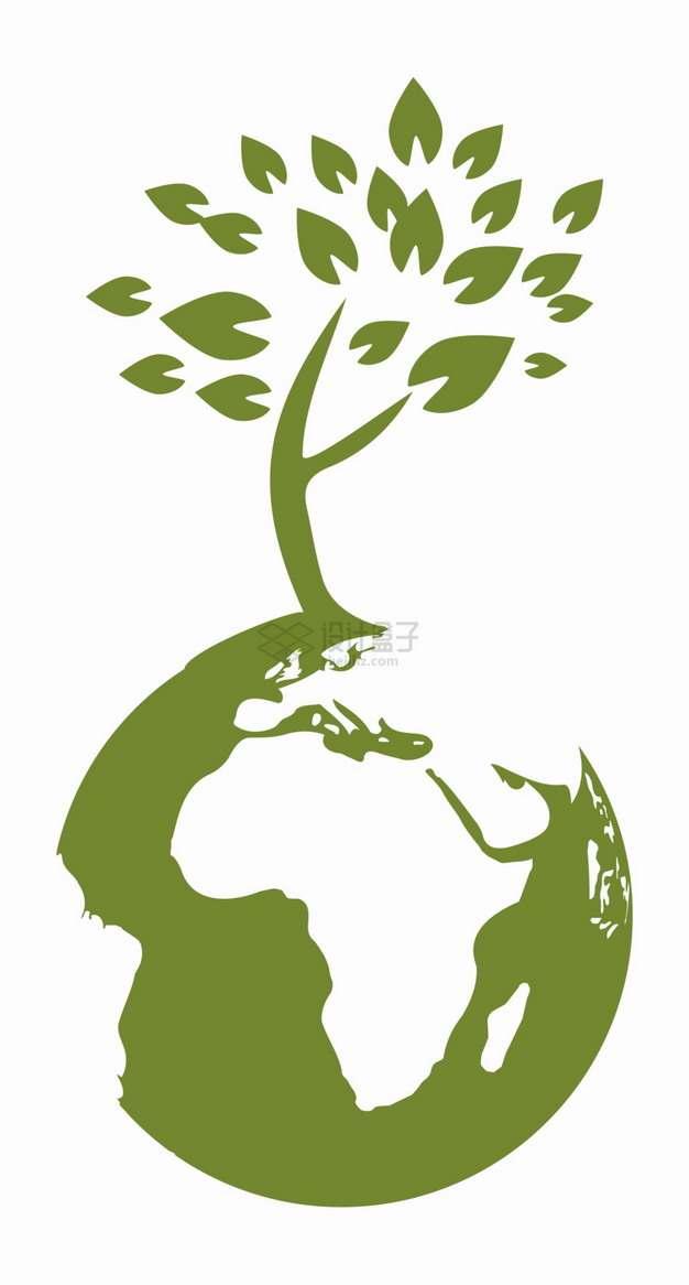 绿色地球上的大树环境保护插画png图片素材