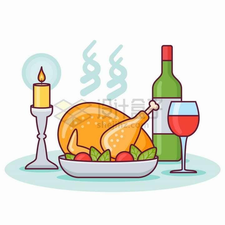 MBE风格烧鸡和红酒蜡烛png图片免抠矢量素材