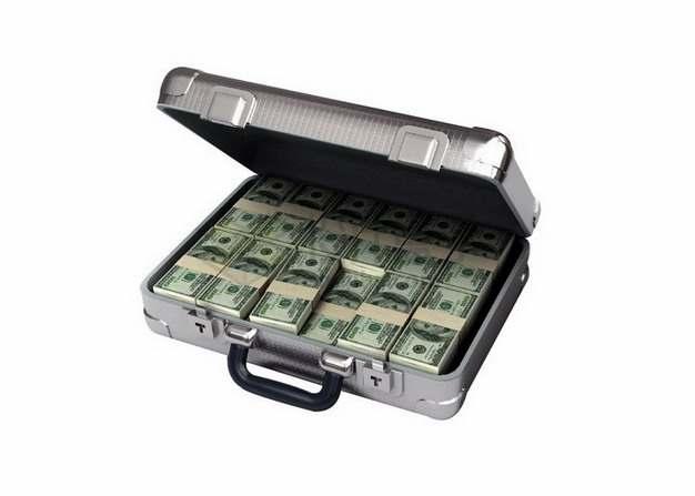 金属箱子里的美元钞票纸币png图片素材