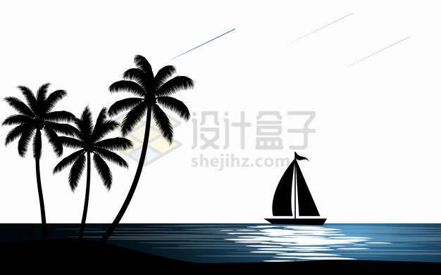 大海帆船椰子树风景剪影插画png图片素材