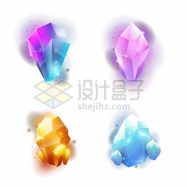 4款闪亮的钻石或宝石矿藏png图片免抠矢量素材