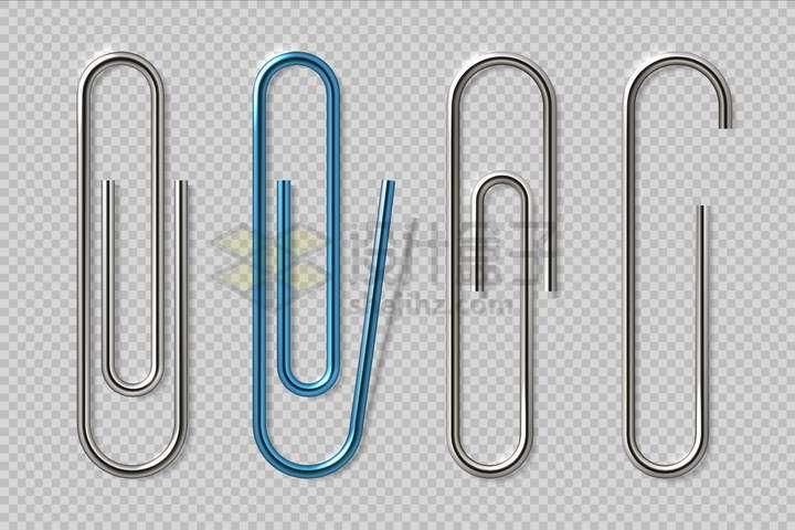 4款逼真的曲别针回形针png图片免抠矢量素材