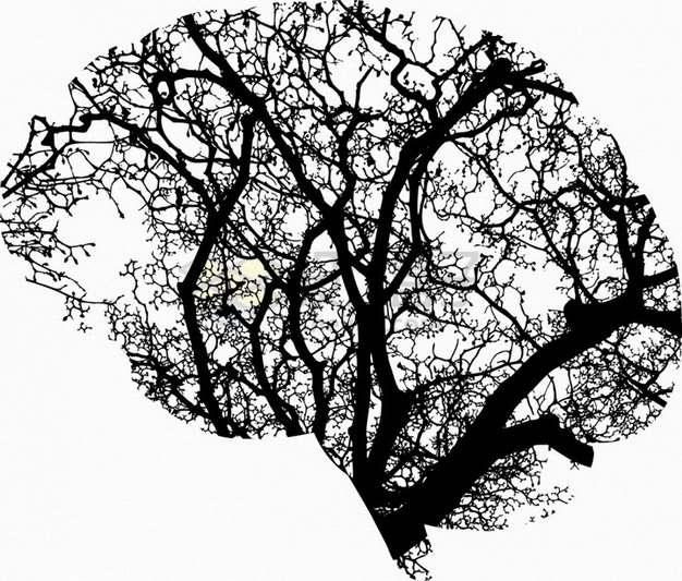 抽象黑色大树树枝剪影组成的人体大脑图案png图片素材