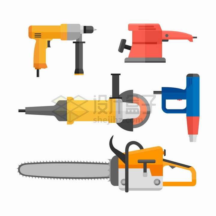 电钻电锯抛光机等装修工具png图片免抠矢量素材