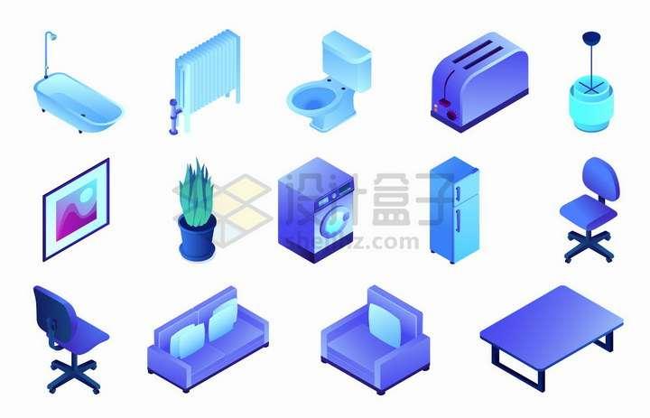 2.5D风格浴缸取暖器抽水马桶面包机盆栽洗衣机电冰箱转椅沙发餐桌等家具png图片免抠矢量素材