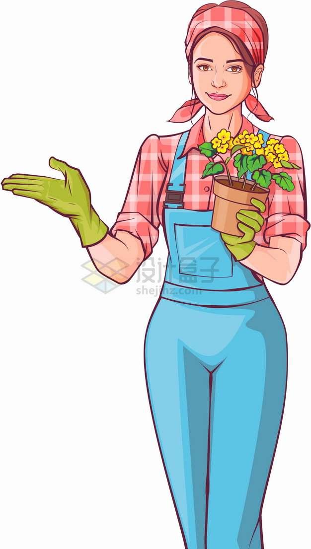 农民打扮的美女拿着盆栽花盆彩绘插画png图片素材