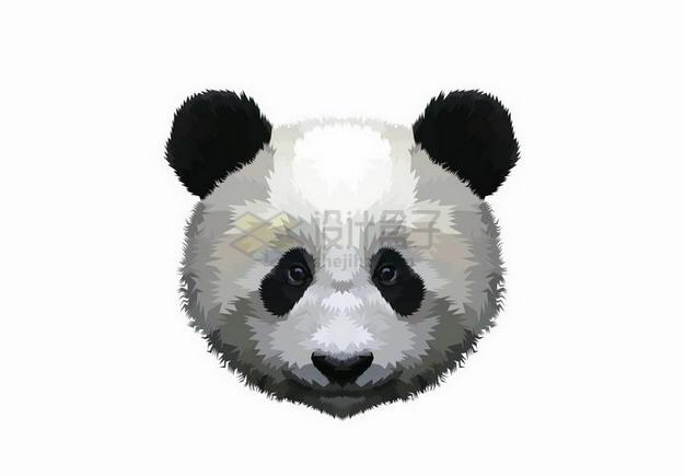 手绘风格大熊猫的头png图片免抠矢量素材 生物自然-第1张