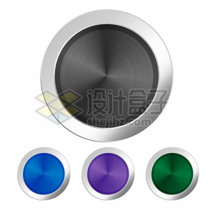 银色金属光泽边框黑色蓝色紫色绿色圆形按钮png图片素材
