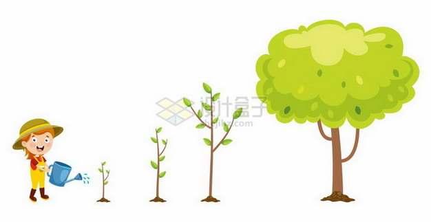 卡通小女孩浇水植树节小树长成大树png图片免抠矢量素材