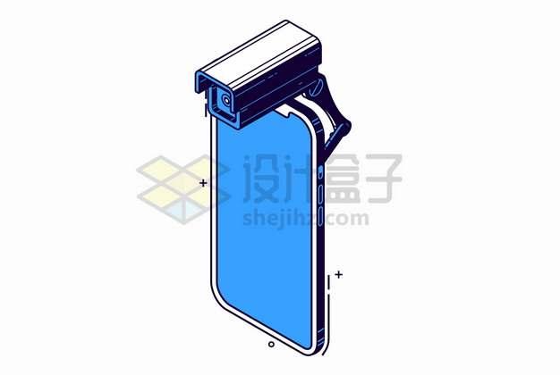 蓝色手机上的监控摄像头彩绘插画png图片素材