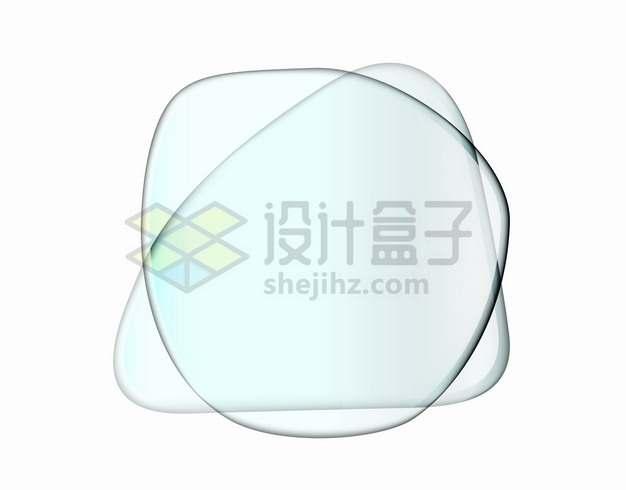 两个不规则形状的半透明玻璃组成的文本框标题框png图片素材