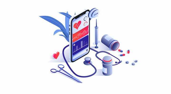 3D立体风格手机手术剪刀药物等智能医疗png图片免抠矢量素材