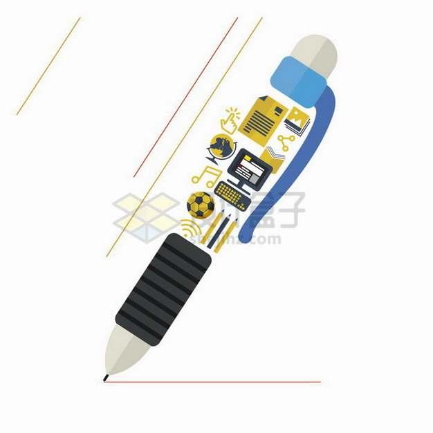 抽象电脑足球地球仪等组成的圆珠笔png图片免抠矢量素材
