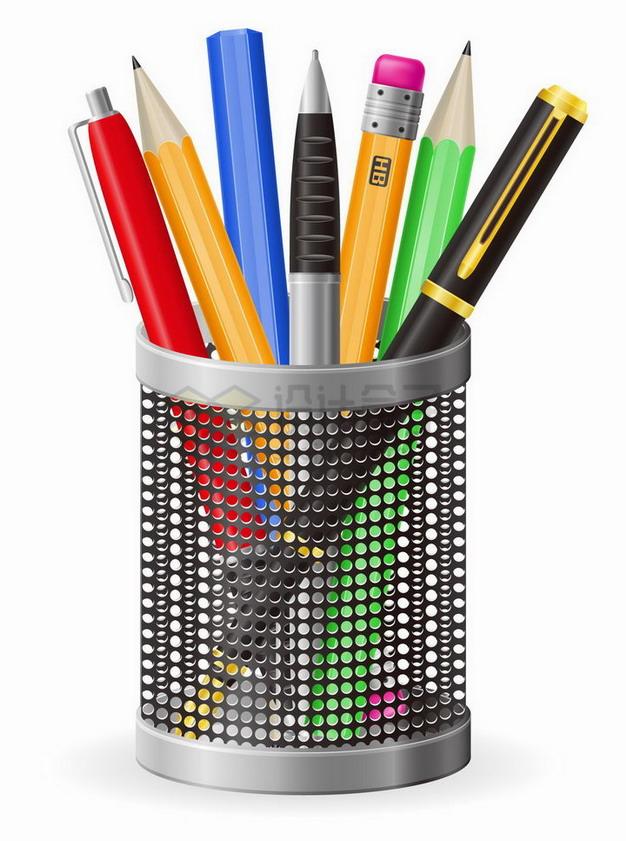 镂空笔筒中放着的各种钢笔圆珠笔铅笔png图片免抠矢量素材 教育文化-第1张