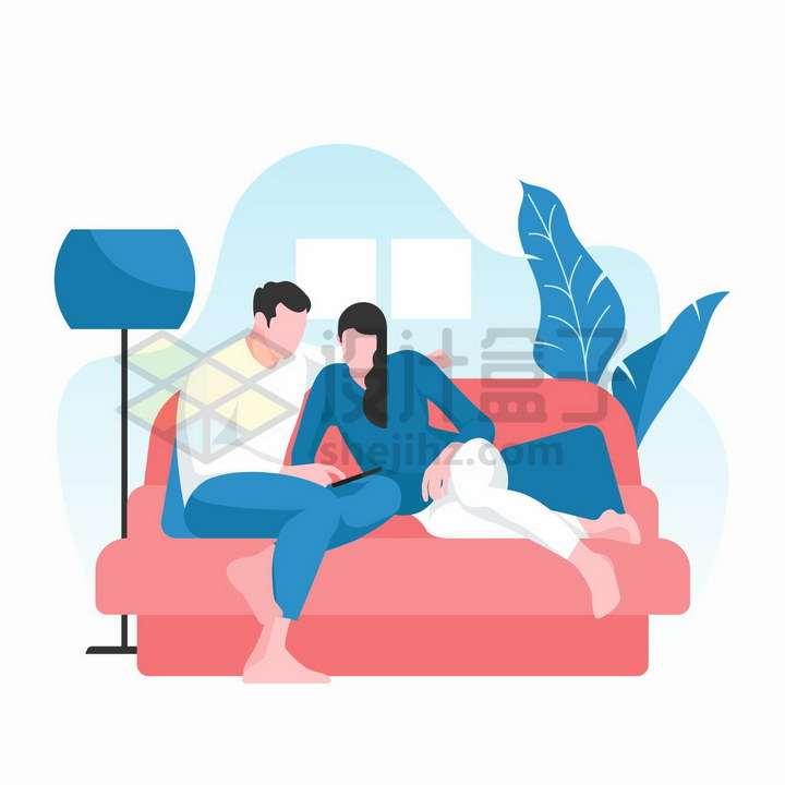宅在家中坐沙发上看视频的情侣扁平插画png图片免抠矢量素材