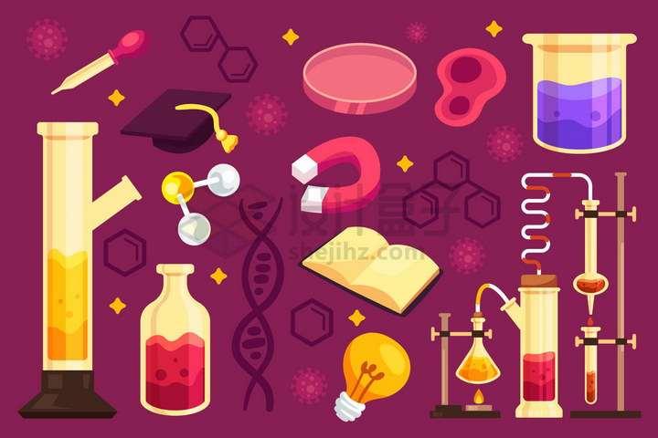 各种卡通试管酒精灯烧杯磁铁培养皿等化学实验仪器装置png图片免抠矢量素材