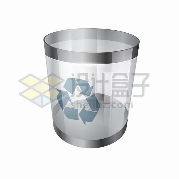 半透明的玻璃垃圾桶回收桶png图片素材