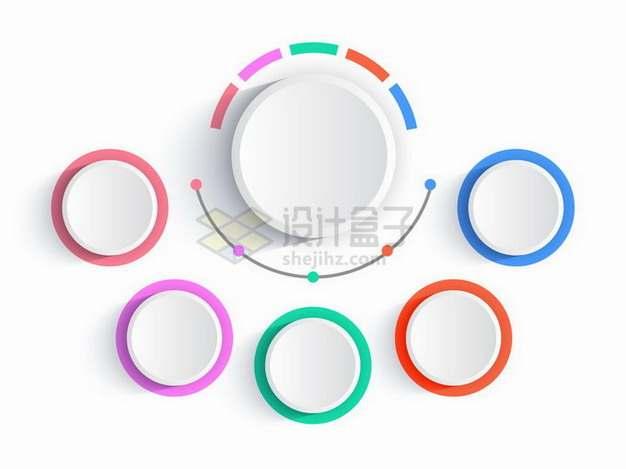 彩色描边的3D圆形按钮组织结构PPT信息图表png图片素材