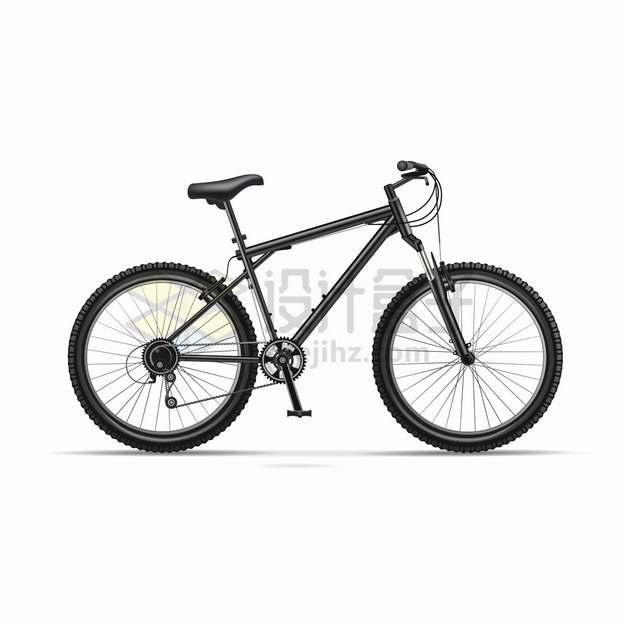 黑色山地自行车侧面图png图片素材