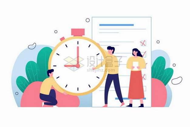 在时钟面前制定日程安排的商务人士扁平插画png图片素材