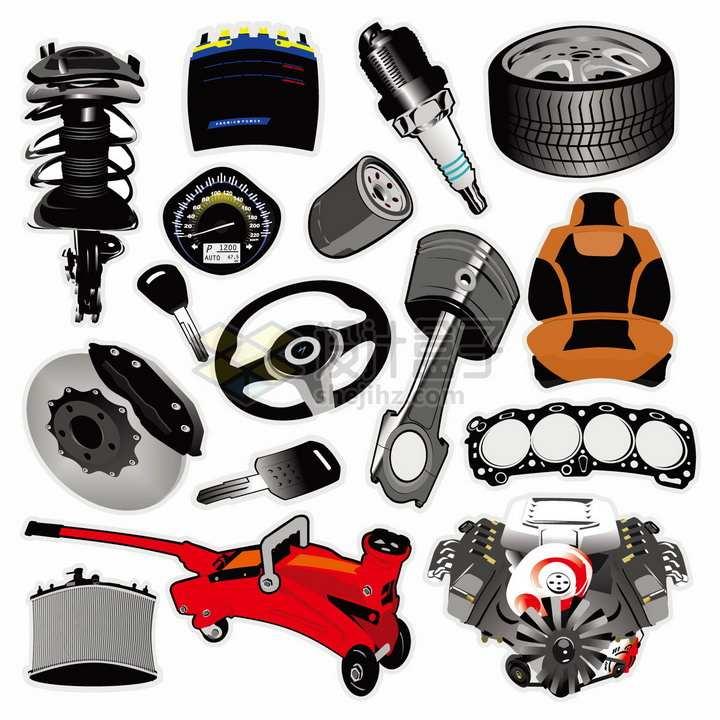 汽车悬挂系统电火花塞发动机汽缸刹车系统等零件png图片素材