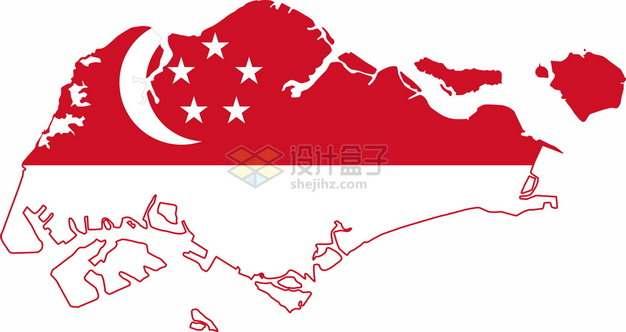 印有国旗图案的新加坡地图png图片素材