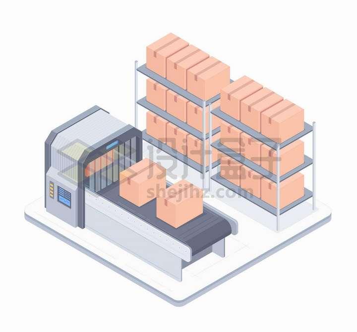堆放得整整齐齐的货物和传送带上的箱子png图片免抠矢量素材